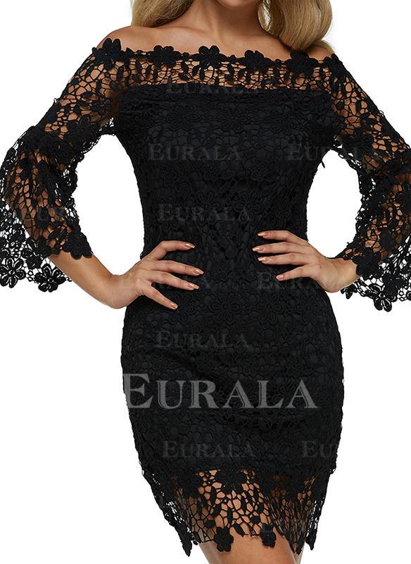Koronka/Jednolita Rękawy 3/4 Bodycon Długośc do kolan Mała czarna/Casual/Przyjęcie Sukienki