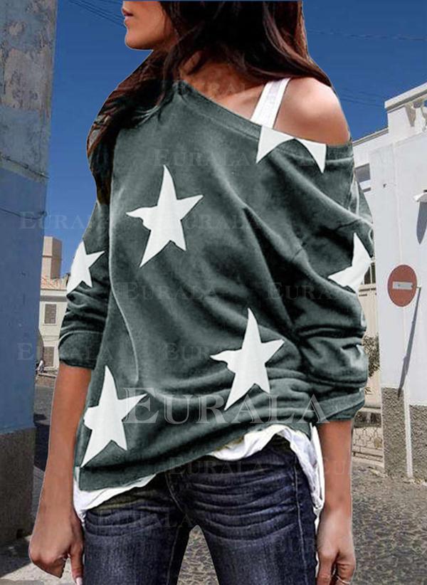 Print En-axels Långa ärmar Fritids T-shirts