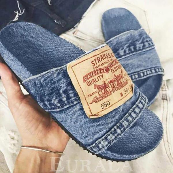 Dla kobiet Dżinsowa Płaski Obcas Sandały Plaskie Otwarty Nosek Buta Kapcie Z Kolor splotu obuwie