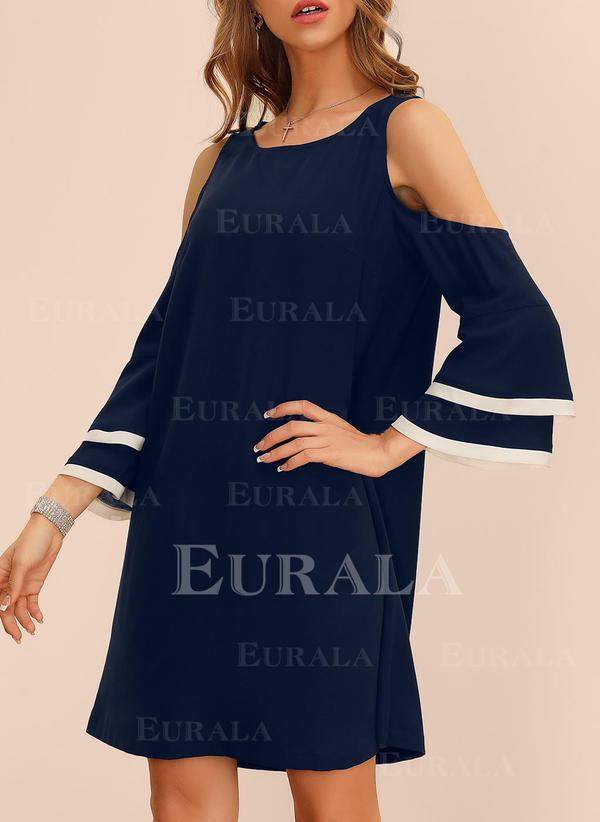 Solid Lange ermer/Slengermer/Cold shoulder-ermer Kvinnedrakt Overknee Casual/Elegant Tunika Kjoler
