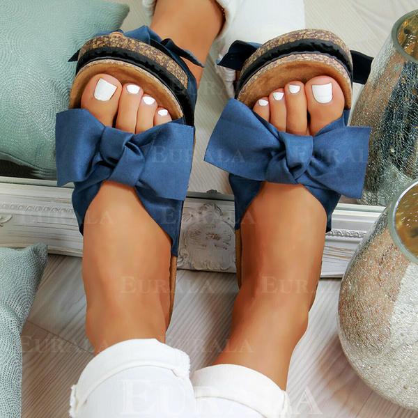 PVC Sem salto Sandálias Sem salto Peep toe com Bowknot sapatos