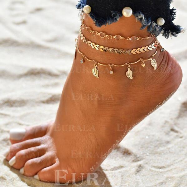 Hottest сплав с лист Пляжные украшения ножные (Набор из 3)