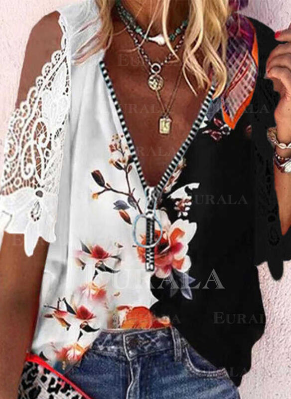 Print Floral Cold Shoulder 1/2 Sleeves Cold Shoulder Sleeve Casual Blouses