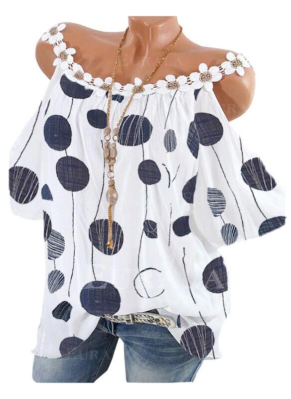 Print PolkaDot Cold Shoulder Short Sleeves Casual Blouses
