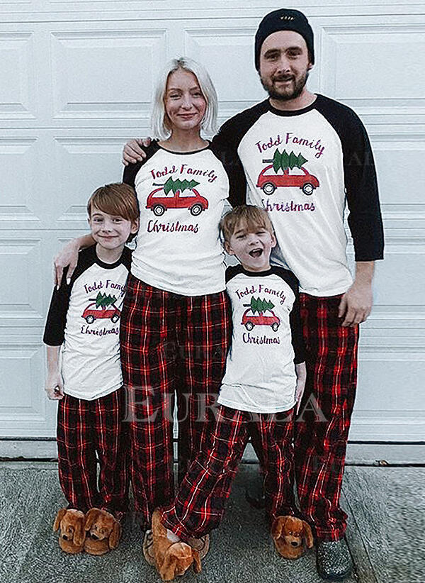 Color-block Plaid Letter Print Family Matching Christmas Pajamas