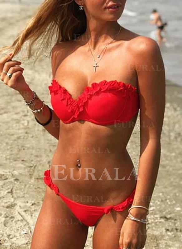 Ensfarget Stroppeløs Sexy Bikinier Badedrakter