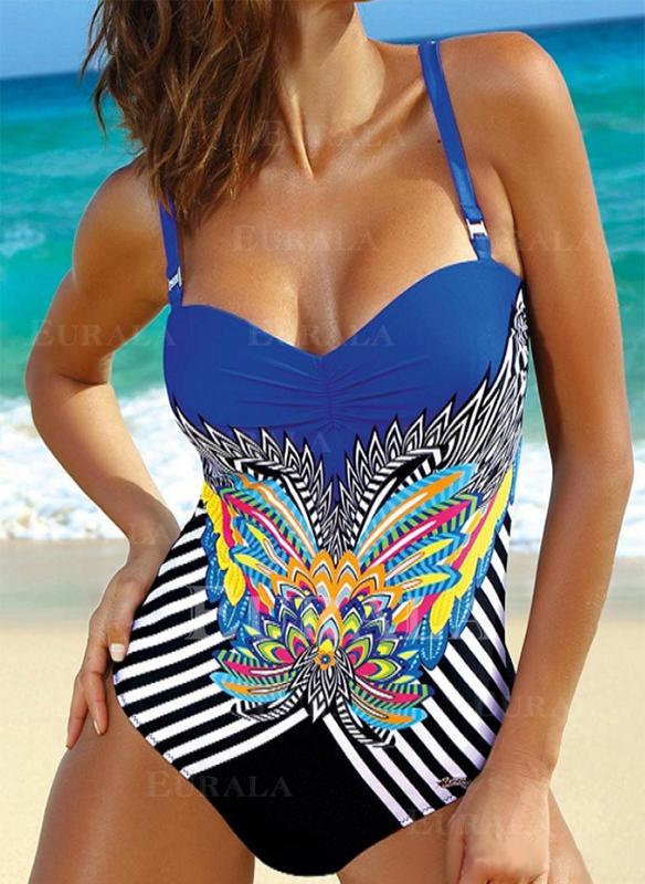 Floral Stripe Print Strap Eye-catching Boho One-piece Swimsuits