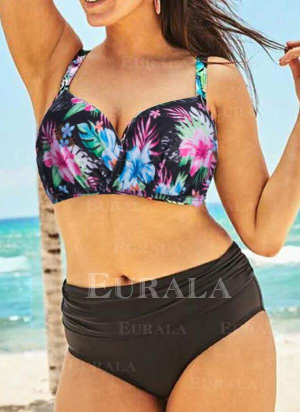 Flaga push up W prążki Seksowny Modny Duży rozmiar Bikini Stroje kąpielowe
