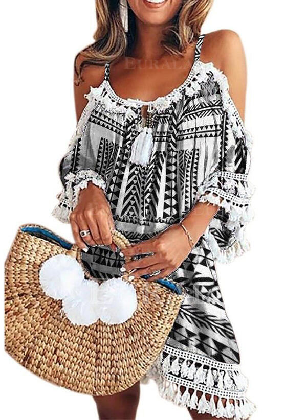 Print Short Sleeves/Cold Shoulder Sleeve A-line Above Knee Casual/Vacation Dresses