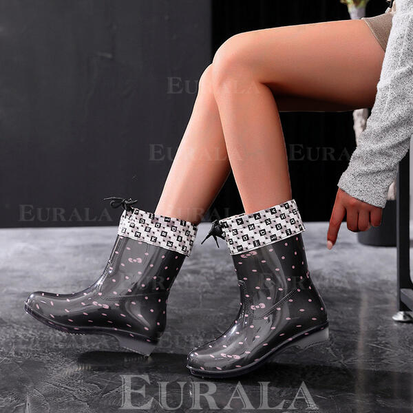 Women's PU Flat Heel Boots Mid-Calf Boots Rain Boots Round Toe With Polka Dot Lace shoes