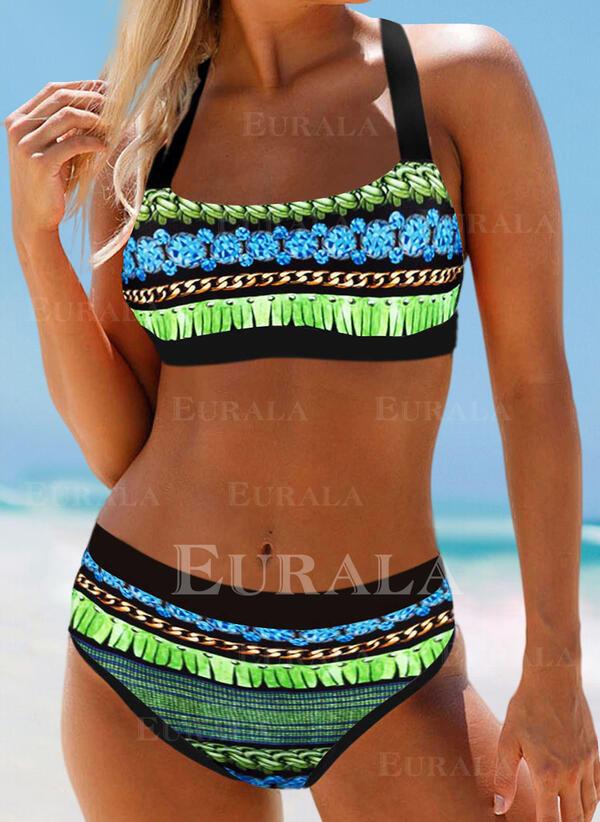 Print Color Block Strap Elegant Bohemian Bikinis Swimsuits