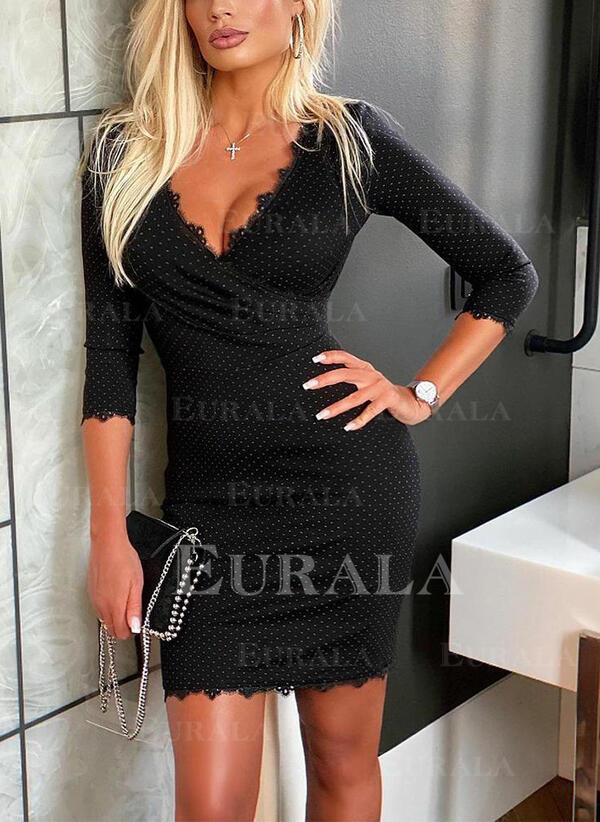 Lace/Print 3/4 Sleeves Bodycon Above Knee Elegant Dresses
