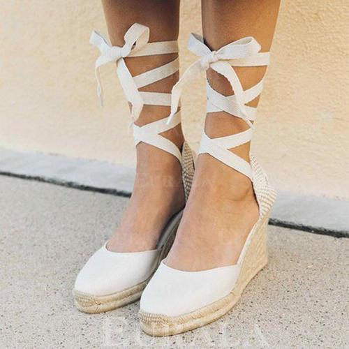 Tkanina Obcas Koturnowy Koturny Z Sznurowanie obuwie