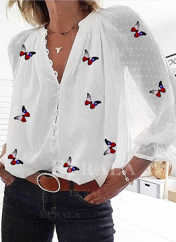 Animal Print V-Neck Long Sleeves Button Up Casual Shirt Blouses