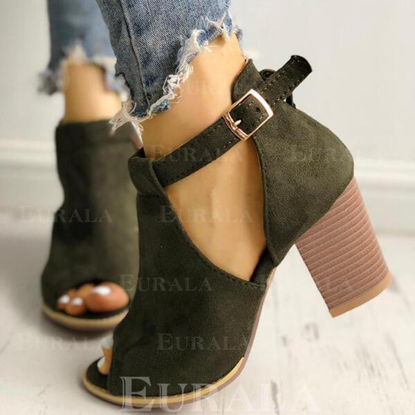 Bayanlar Süet Tıknaz Topuk Ayak bileği çizmeler Ile Toka ayakkabı