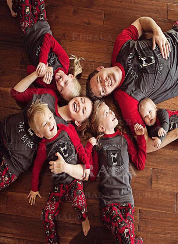 Ayı Baskı Aile Eşleşen Noel Pijamaları