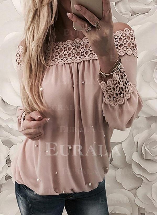 С плеча Длинные рукова Повседневная элегантный Блузы