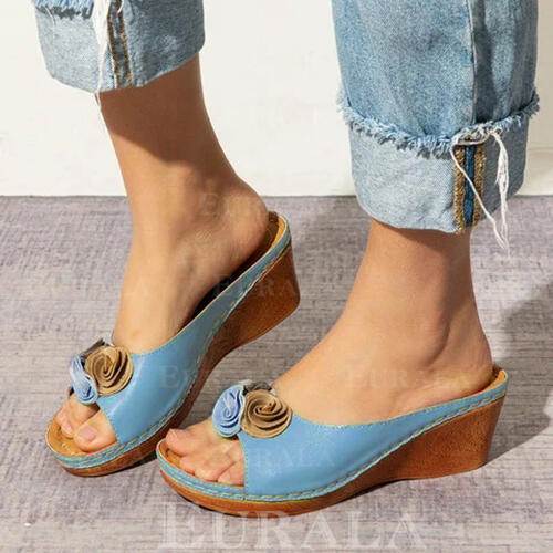 Women's PU Wedge Heel Sandals Peep Toe Slippers With Flower shoes