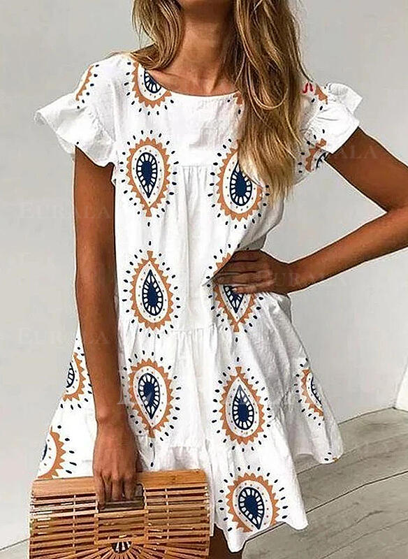 Print Short Sleeves/Flare Sleeves A-line Above Knee Casual/Boho/Vacation Dresses