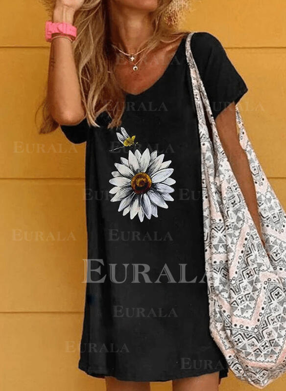 Floral/Animal Print Short Sleeves Shift Above Knee Casual Dresses