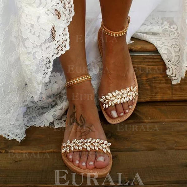 Bayanlar PU Düz topuk Sandalet Flats Peep Toe Ile Kristal Toka ayakkabı