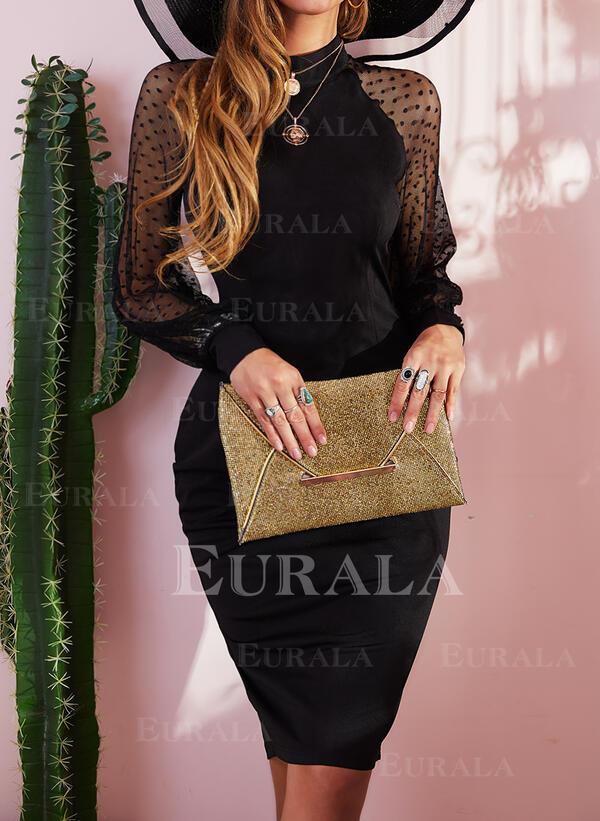 Jednobarevné Dlouhé rukávy Pouzdrové Malé černé/Večírek/Elegantní Midi Rochii