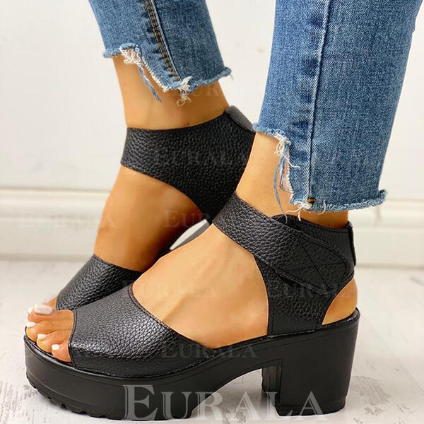 Women's PU Chunky Heel Sandals Peep Toe With Velcro shoes