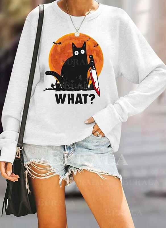 Animal Print Halloween Round Neck Long Sleeves Sweatshirt