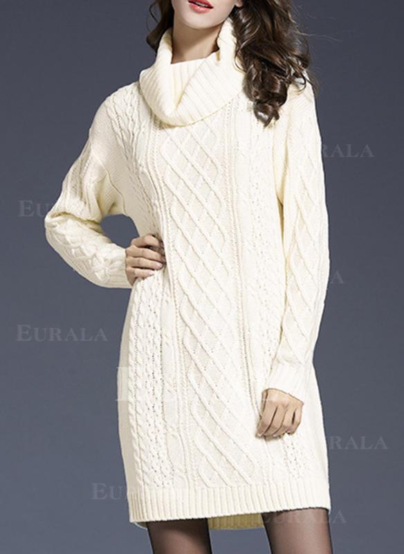 Jednolity Prążkowana dzianina Golf Casual Długie Sukienka sweterkowa