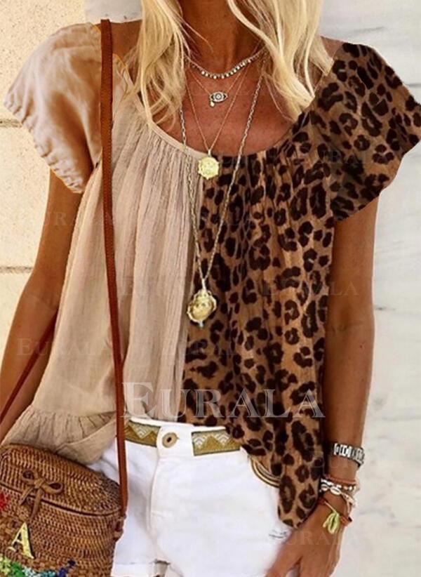 леопард Шею С коротким рукавом Повседневная Блузы