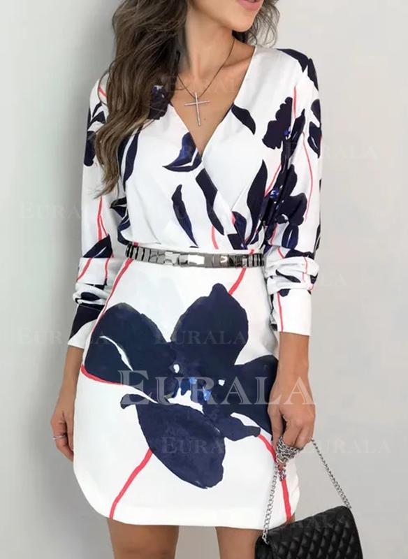 Print/Floral Long Sleeves Sheath Knee Length Casual Dresses