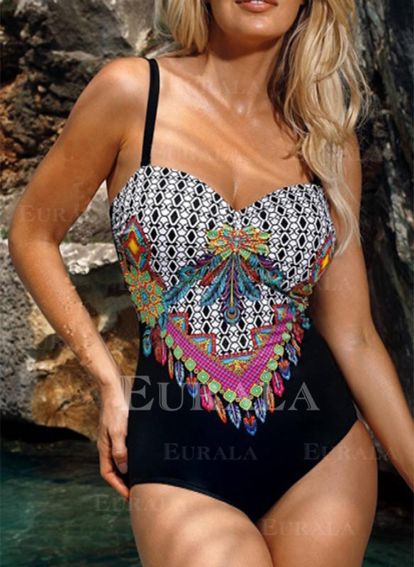 Floral Underwire Print Strap Sexy Boho One-piece Swimsuits