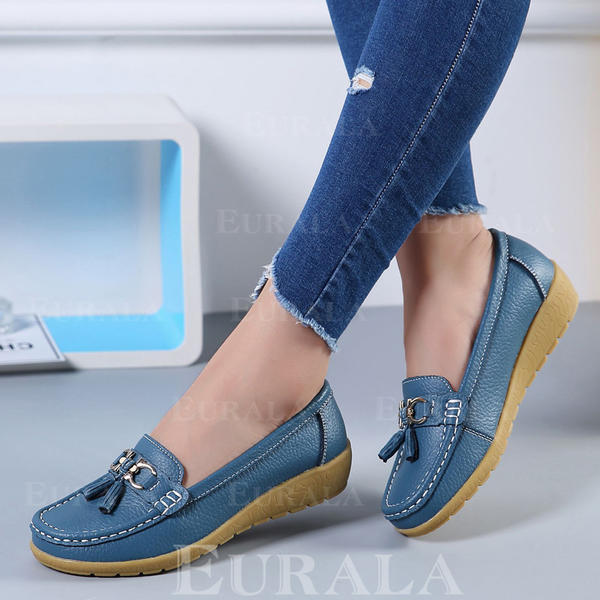 Women's PU Flats With Bowknot Tassel shoes