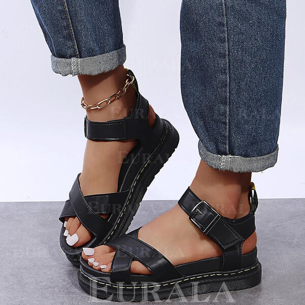 Women's PU Flat Heel Sandals Platform Peep Toe With Buckle Hollow-out shoes