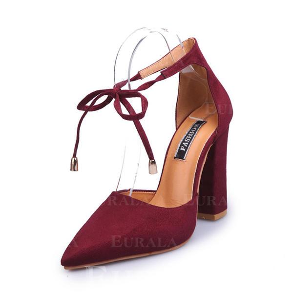 De mujer Ante Tacón ancho Salón Cerrados con Hebilla Cordones zapatos