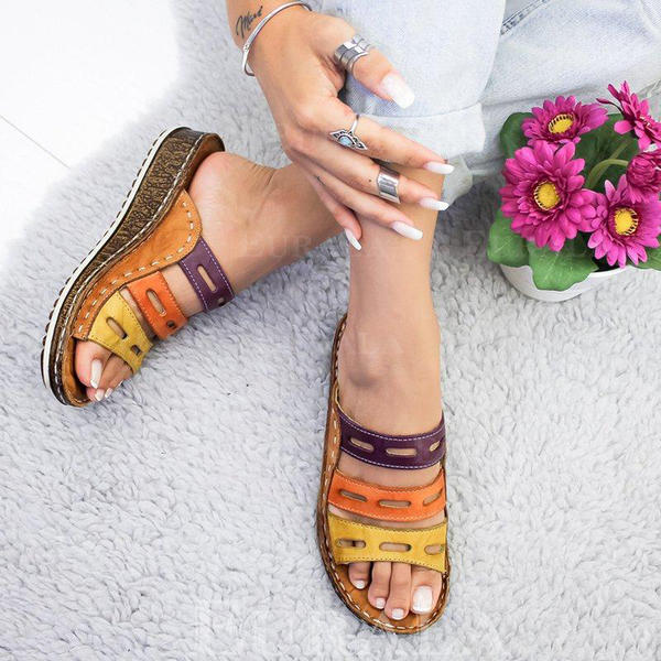 PU Sivri topuk Sandalet Takozlar Peep Toe Terlik Ile Oymak ayakkabı