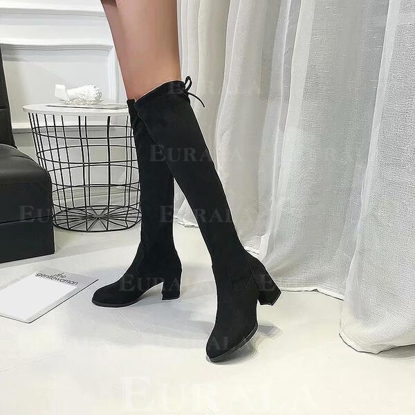 Женский PU Толстый каблук Высокие сапоги Высокая вершина Острый нос обувь