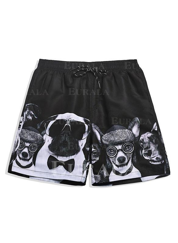 De Los Hombres Impresión Forrado Pantalones cortos