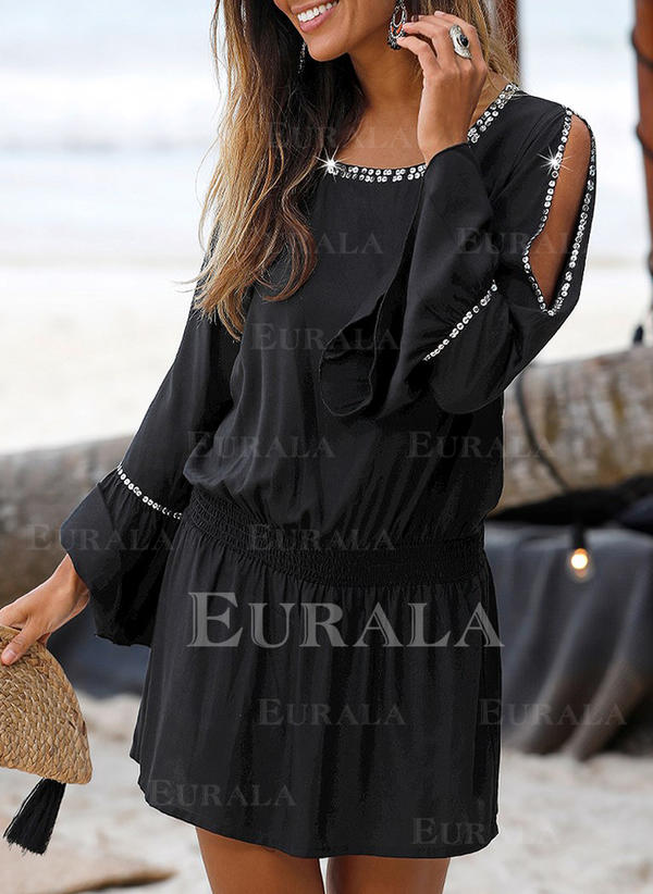 Solid Long Sleeves/Cold Shoulder Sleeve A-line Above Knee Little Black/Casual/Vacation Dresses