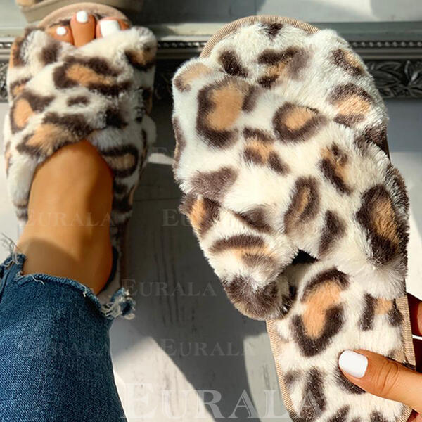 Women's Fabric Flat Heel Slippers With Animal Print Faux-Fur shoes
