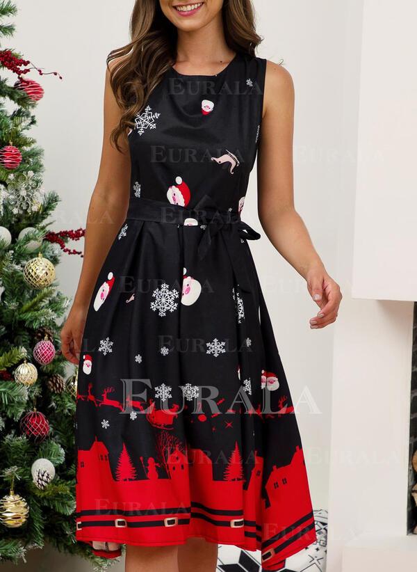 Print Sleeveless A-line Knee Length Christmas/Party Skater Dresses
