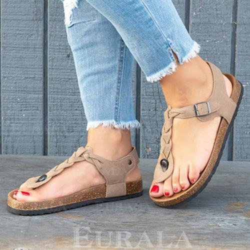 Bayanlar PU Düz topuk Sandalet Peep Toe Parmak arası terlik Ile Perçin Toka ayakkabı
