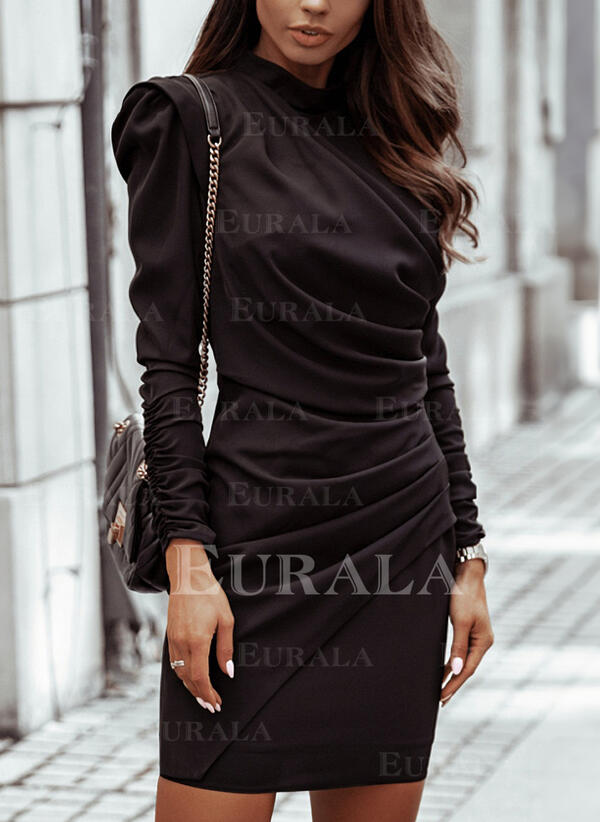 Solid Long Sleeves/Puff Sleeves Bodycon Above Knee Little Black/Elegant Dresses
