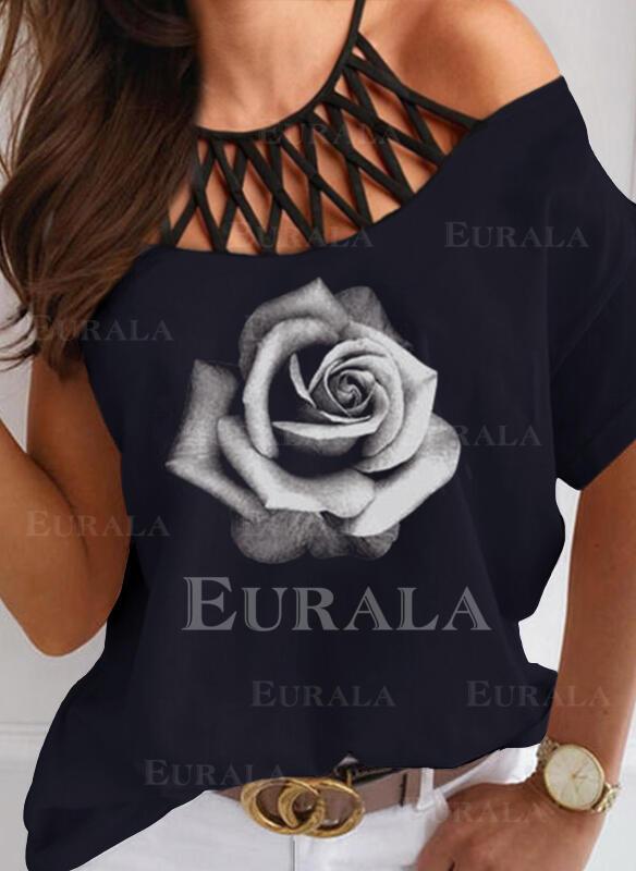 Распечатать Цветочный Холодный прием С коротким рукавом Повседневная Блузы