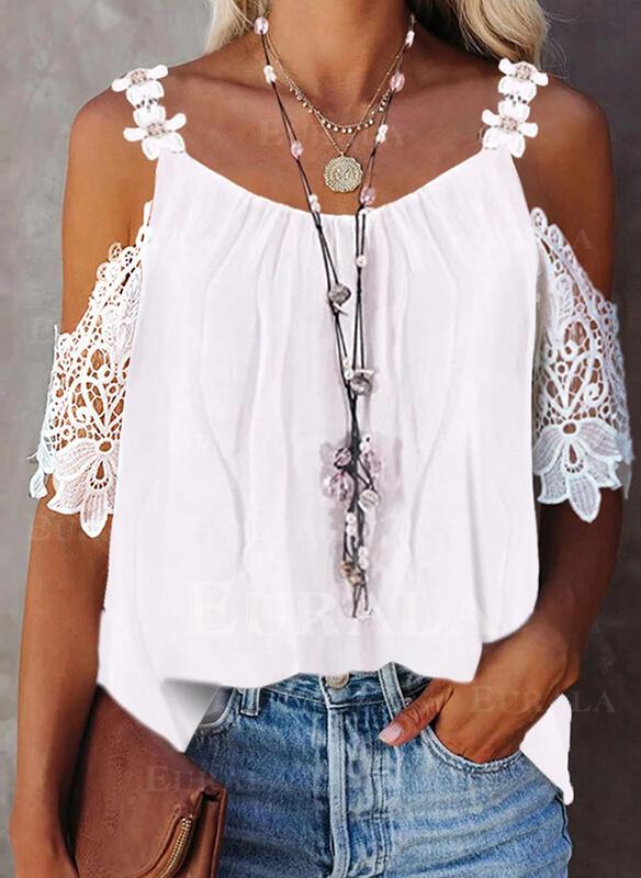 твердый кружевной Холодный прием 1/2 рукава элегантный Блузы