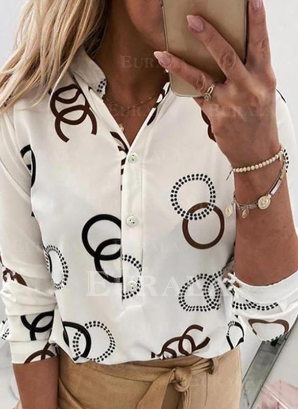 Geometrisk lapel Långa ärmar Knäpp upp Fritids Skjorta Blusar