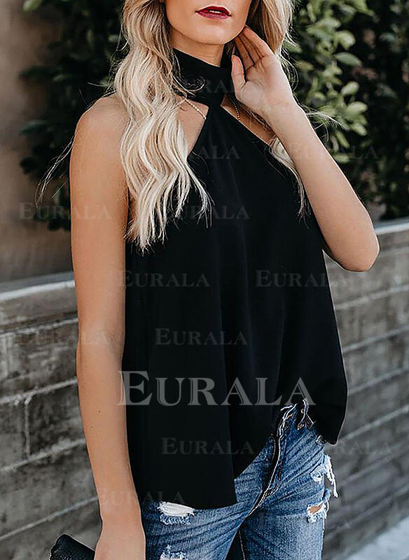 Solid High Neck Sleeveless Casual Tank Tops