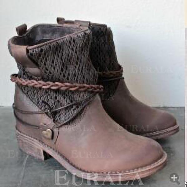 Dla kobiet Skóra ekologiczna Niski Obcas Czólenka Kozaki Z Plecione Ramiączko obuwie