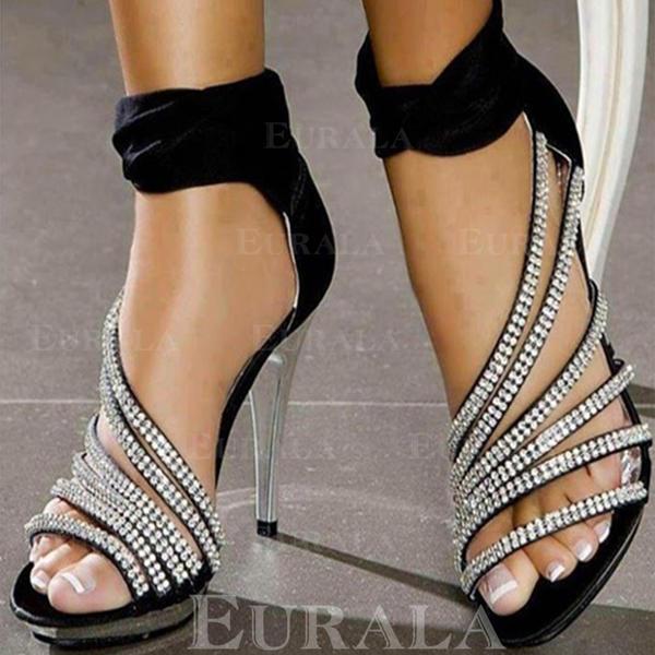 Mulheres Cetim Salto agulha Sandálias Bombas Peep toe Low Top Saltos com Cristal Zíper sapatos