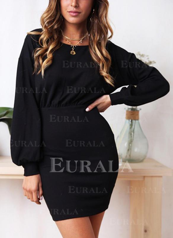 Solid Mâneci Lungi Conică Deasupra Genunchiului Negre/Casual/Elegant Elbiseler